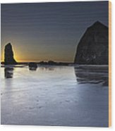 Haystack Rocks And The Needles At Cannon Beach Wood Print