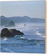 Haystack Rocks In Cannon Beach Wood Print