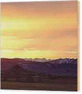 Haystack Rocky Mountain Front Range Sunset Panorama Wood Print
