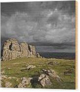 Haytor Storm Wood Print