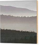 Haze Over Hills, Oregon Wood Print