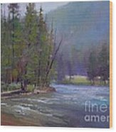 Hazy Day On The Gallatin  Wood Print by Lori  McNee