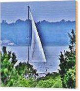 Hazy Day Sail Wood Print