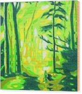 Hazy Sunny Forest Wood Print