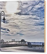 Hdr Beachtown Beach Ocean Sand Pier Sunrise Clouds Relaxation Photography Photos Sale Gallery Buy  Wood Print by Pictures HDR