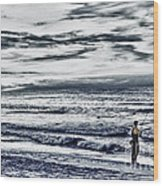 Hdr Black White Color Effect Fisherman Beach Ocean Sea Seascape Landscape Photography Image Photo  Wood Print
