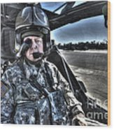 Hdr Image Of A Pilot Equipped Wood Print