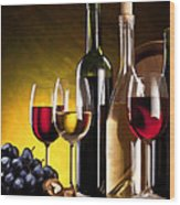 Hdr Style Wine Glasses Bottle Cask And Grapes Wood Print