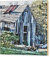 Hdr Tin Patch Roof Barn Wood Print