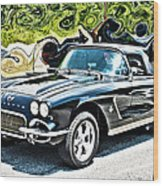 Chevrolet Corvette Vintage With Curly Background Wood Print