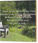 He Sanctified You Wood Print