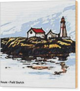 Head Harbour Lighthouse - Field Sketch Wood Print