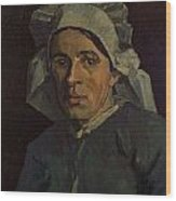 Head Of A Peasant Woman With White Cap Wood Print