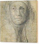 Head Of A Woman Wood Print by Michelangelo Buonarroti