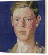 Head Of A Young Man Wood Print by Francis Campbell Boileau Cadell