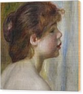 Head Of A Young Woman Wood Print by Pierre Auguste Renoir