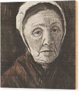 Head Of An Old Woman In A Scheveninger Wood Print