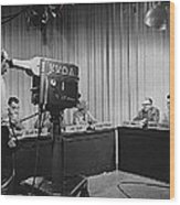 Head Of Production Lowell Cable Cameraman Panel  Kvoa Tv Circa 1955 Color Added 2013 Wood Print