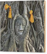 Head Of The Sand Stone Buddha Image Wood Print by Tosporn Preede