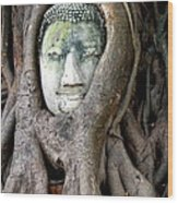 Head Of The Sandstone Buddha Wood Print