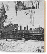 Head On Train Wreck Wood Print