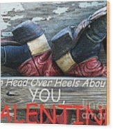 Head Over Heels Valentine Wood Print