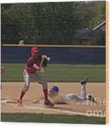 Head Slide In Baseball Wood Print