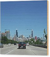 Heading North On Lake Shore Drive In Chicago Wood Print