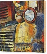 Headlight On A Retired Relic Abstract Wood Print