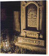 Headstone By Lantern Light Wood Print