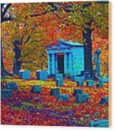 Headstone Fall Wood Print