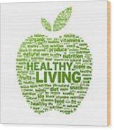 Healthy Living Apple Illustration Wood Print