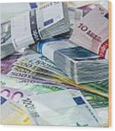 Heap Of Euro Bills Wood Print by Handmade Pictures