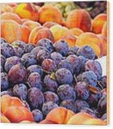 Heap Of Fresh Organic Peaches And Damson Plums  Wood Print