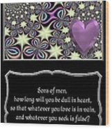Heart And Love Design 14 With Bible Quote Wood Print