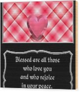 Heart And Love Design 15 With Bible Quote Wood Print