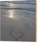 Heart At The Beach Wood Print