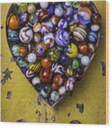 Heart Box Full Of Marbles Wood Print
