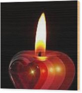 Heart Candle Wood Print