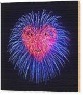 Heart Fireworks Face Wood Print