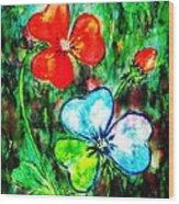 Heart Flowers Wood Print
