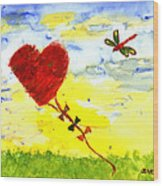 Heart Kite Wood Print