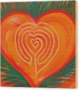 Heart Labyrinth Wood Print