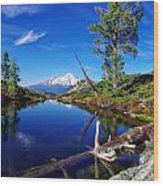 Heart Lake And Mt Shasta Reflection Wood Print