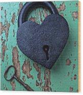Heart Lock And Key Wood Print