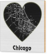 Heart Map Chicago Wood Print
