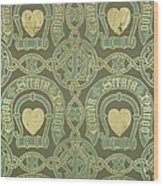 Heart Motif Ecclesiastical Wallpaper Wood Print