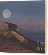 Heart Mountain And Full Moon-signed-#0325 Wood Print