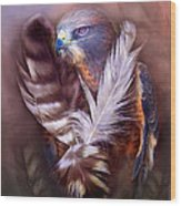 Heart Of A Hawk Wood Print by Carol Cavalaris