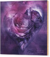 Heart Of A Rose - Burgundy Purple Wood Print